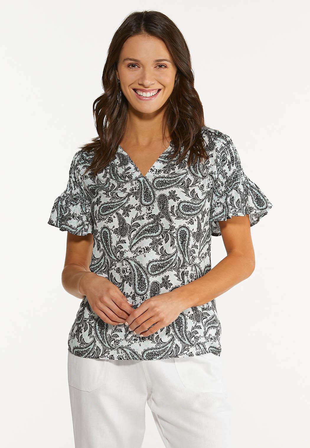 Paisley Smocked Sleeve Top