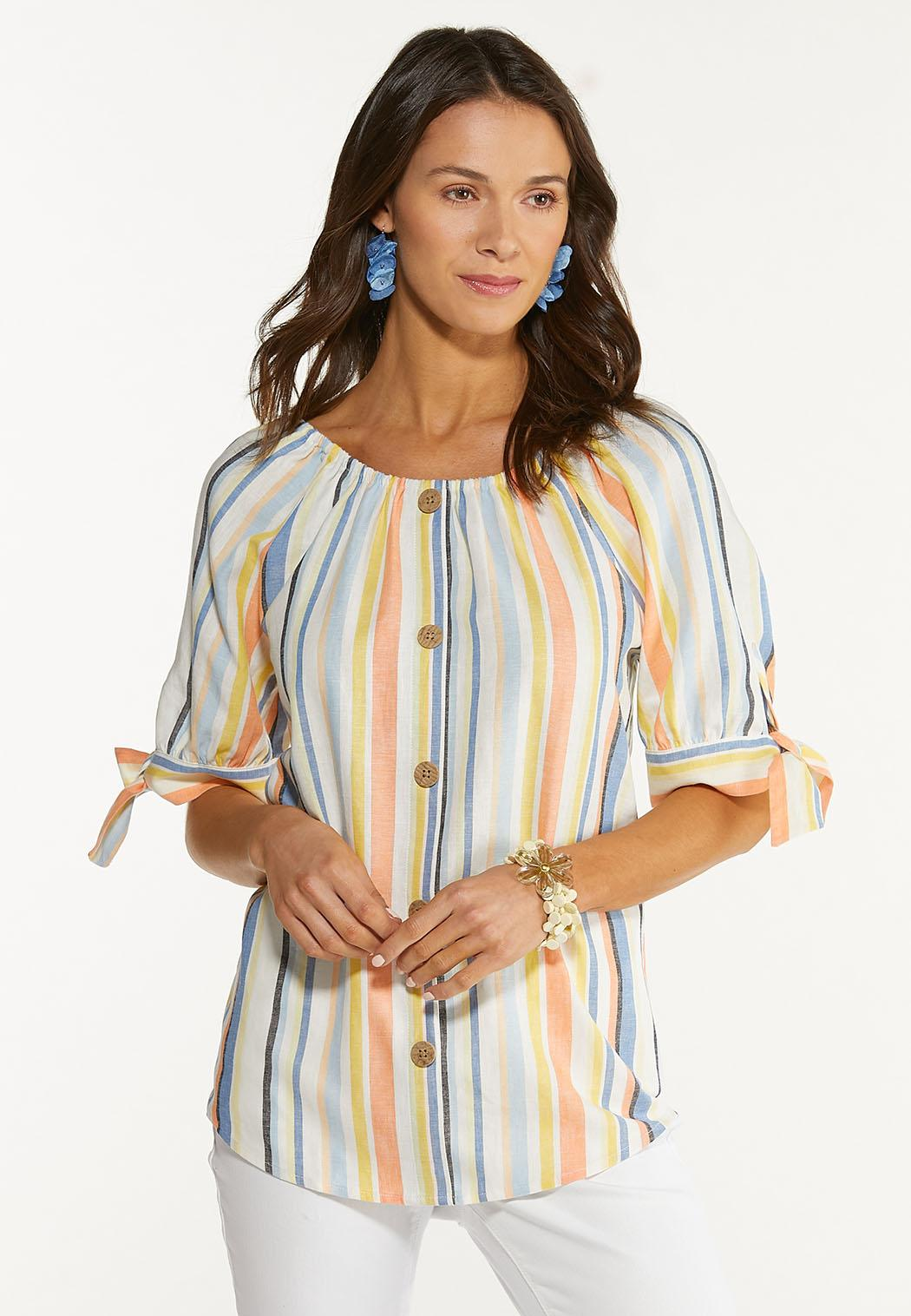 Plus Size Striped Tie Sleeve Top