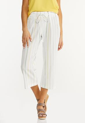 Cropped Textured Stripe Pants