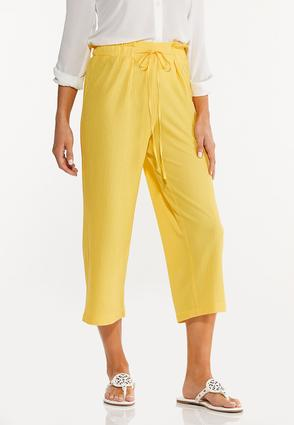 Cropped Solid Textured Pants