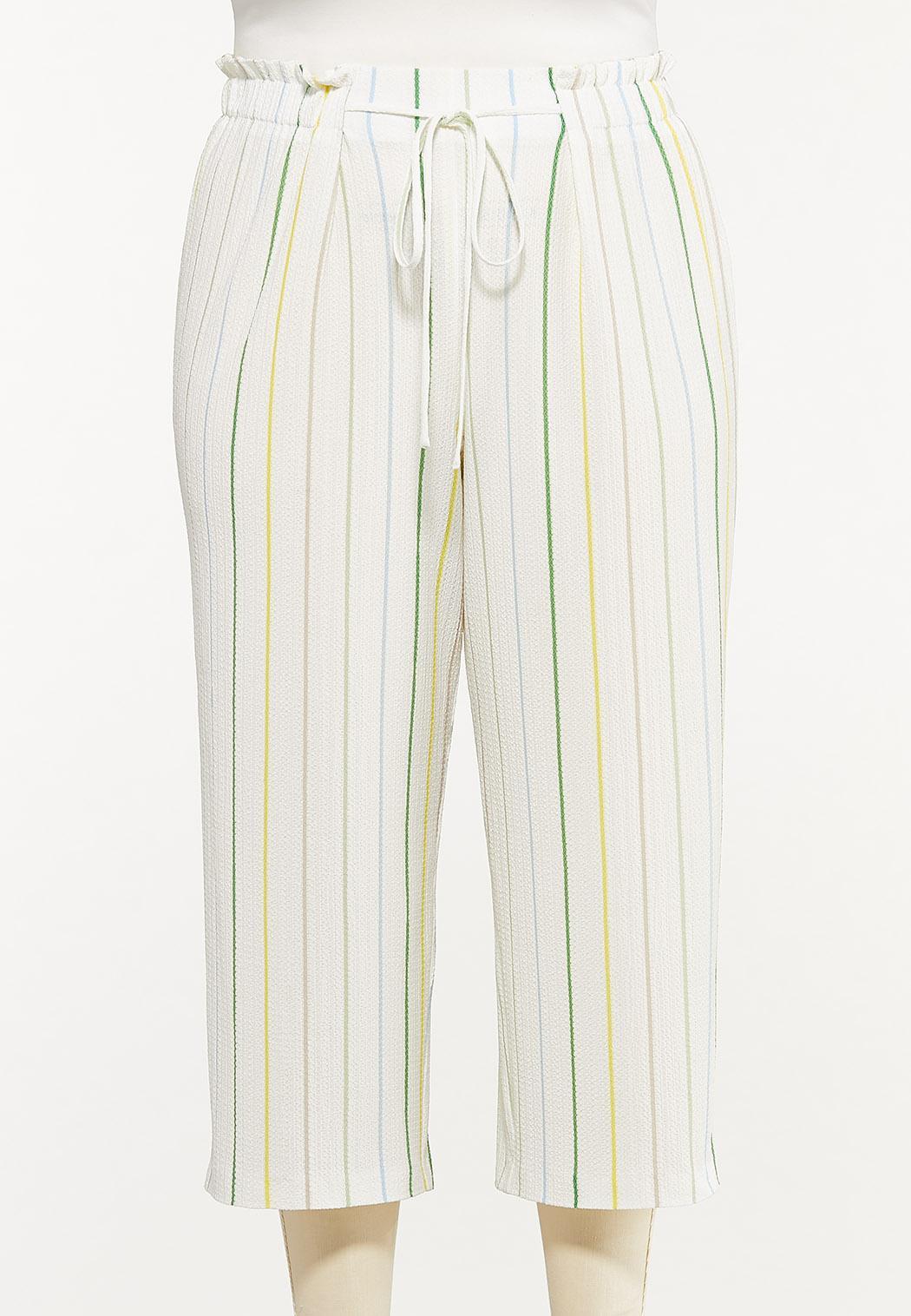 Plus Size Cropped Textured Stripe Pants