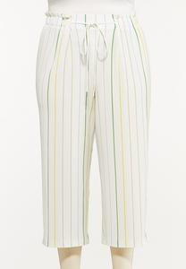 Plus Size Cropped Textured Stripe Pants