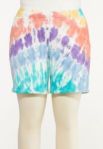 Plus Size Tie Dye Jean Shorts