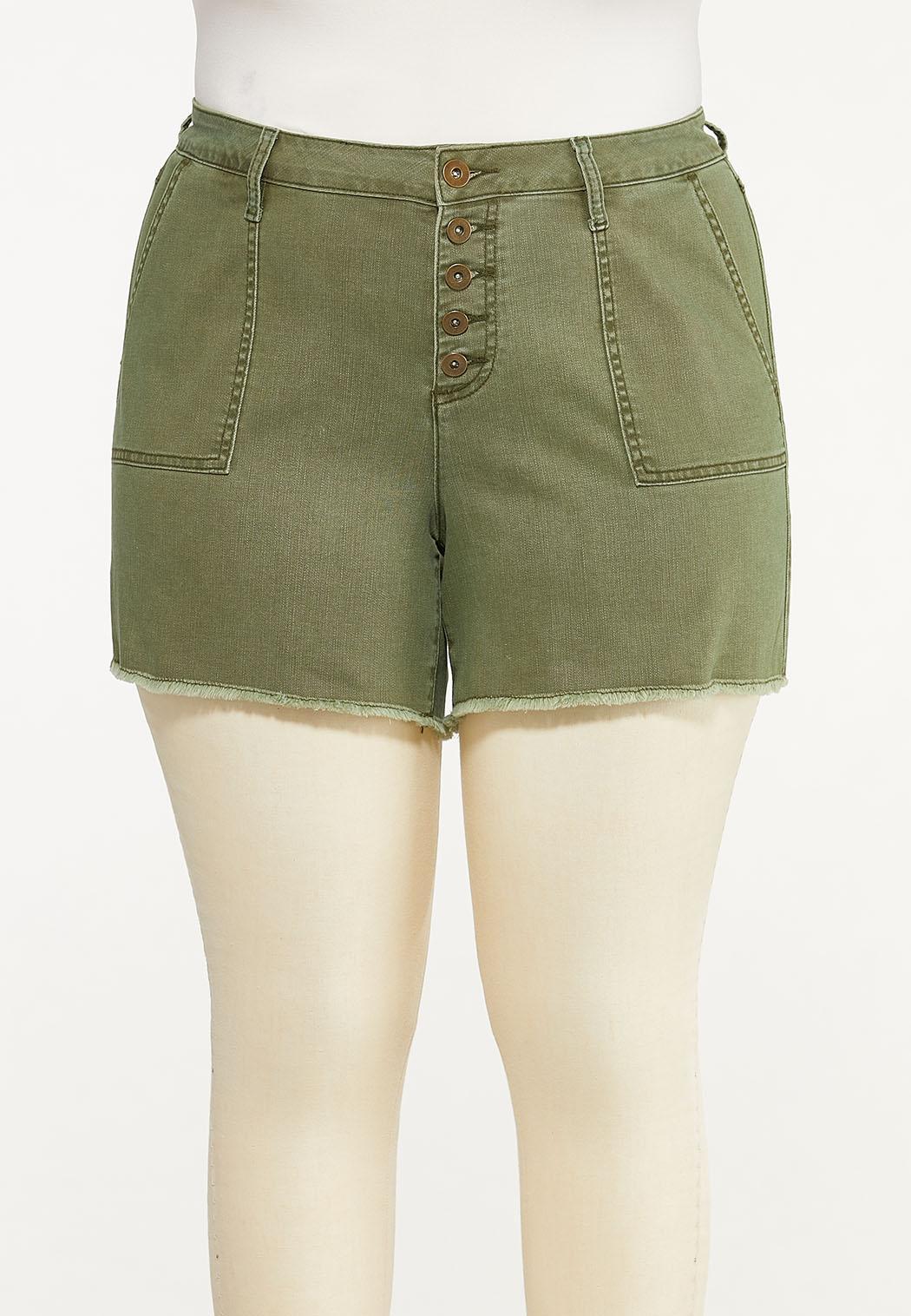 Plus Size Olive Utility Denim Shorts