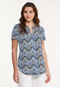 Plus Size Stretchy Blue Chevron Top