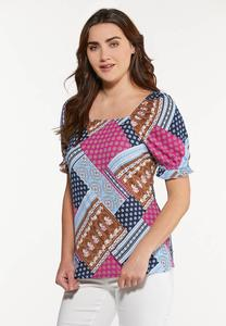 Plus Size Patchwork Puff Sleeve Top