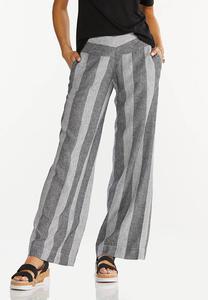 Black Stripe Linen Pants