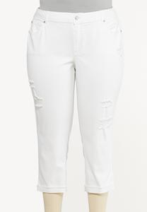 Plus Size White Cropped Girlfriend Jeans