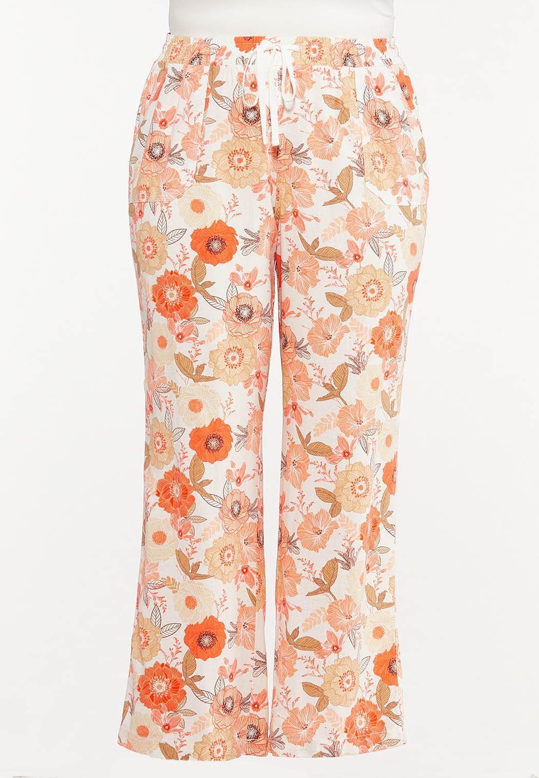 Plus Size Orange Blossom Linen Pants