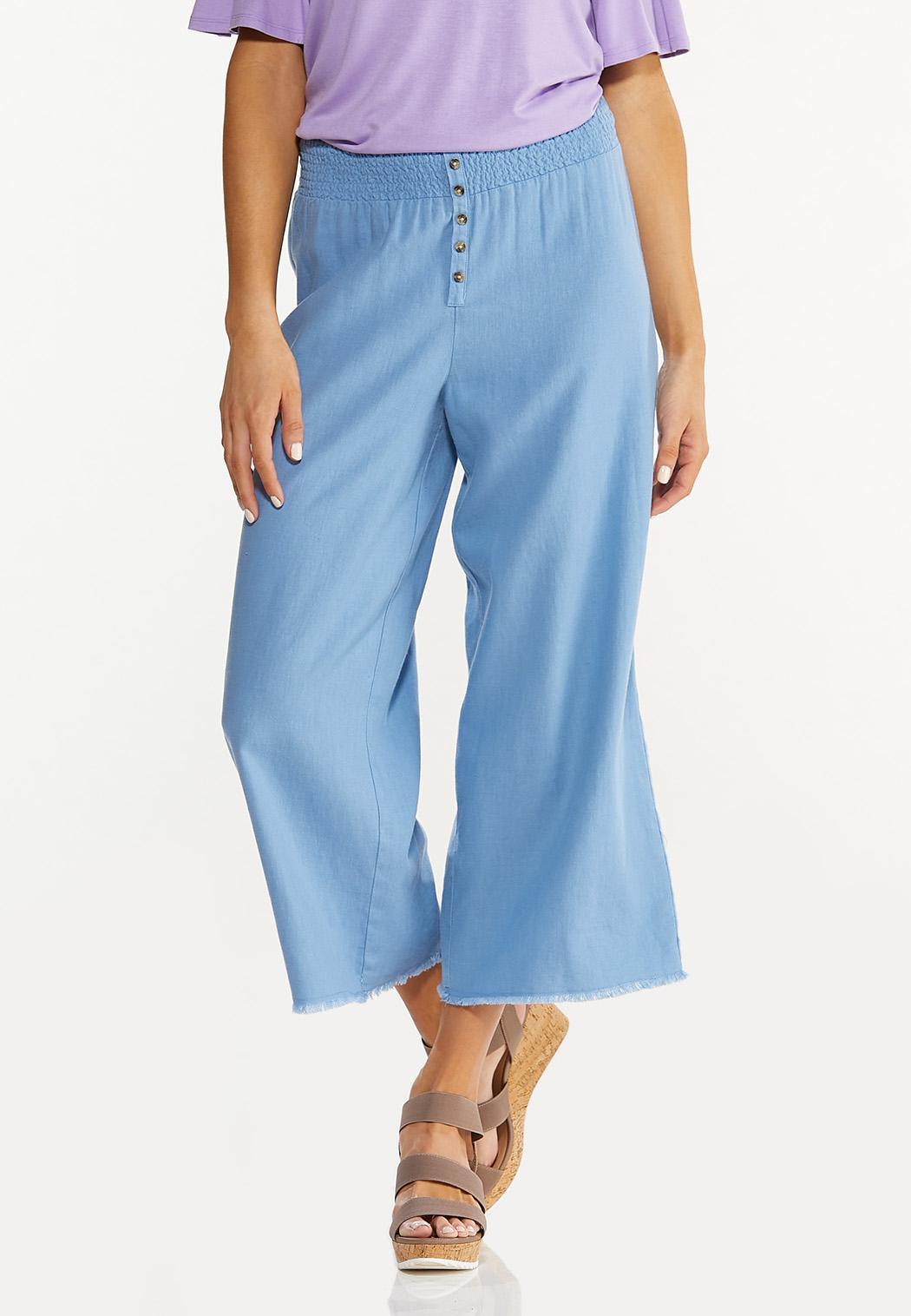 Frayed Wide Leg Linen Pants