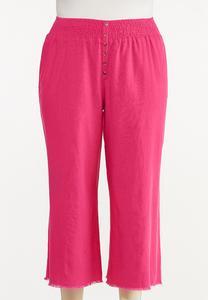 Plus Size Frayed Wide Leg Linen Pants