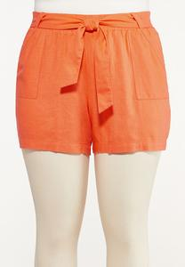 Plus Size Orange Linen Shorts