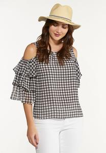 Plus Size Ruffled Gingham Top