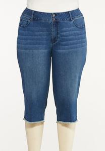 Plus Size Cropped Frayed Jeans