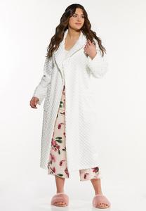 Plus Size Textured Cozy Robe