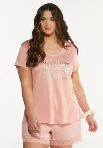 Plus Size No Talkie Before Coffee Sleep Tee