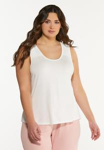 Plus Size Lace Trim Lounge Tank