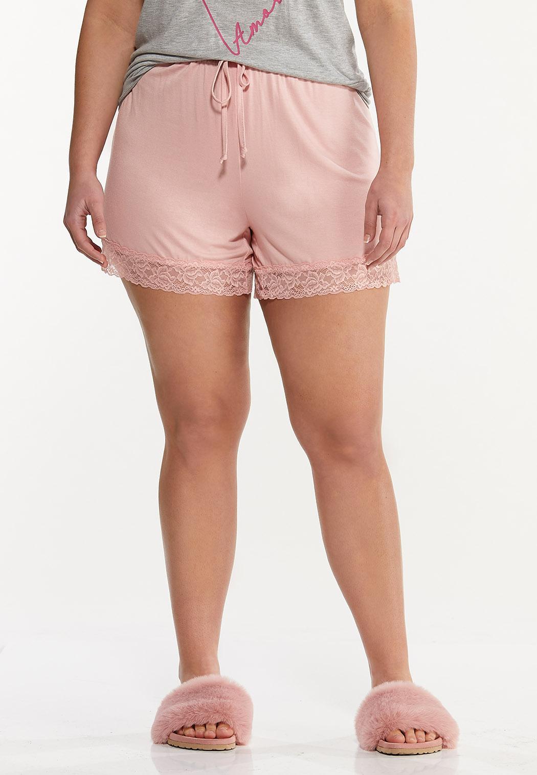Plus Size Lace Trim Sleep Shorts