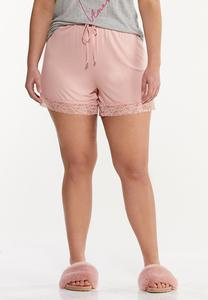 Plus Size Lace Trim Sleep Shorts
