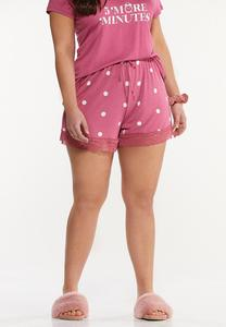 Plus Size Dotted Lace Sleep Shorts
