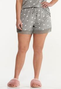 Plus Size Heart Sleep Shorts