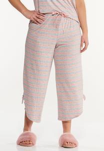 Plus Size Cropped Stripe Lounge Pants