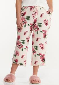 Plus Size Cropped Floral Sleep Pants