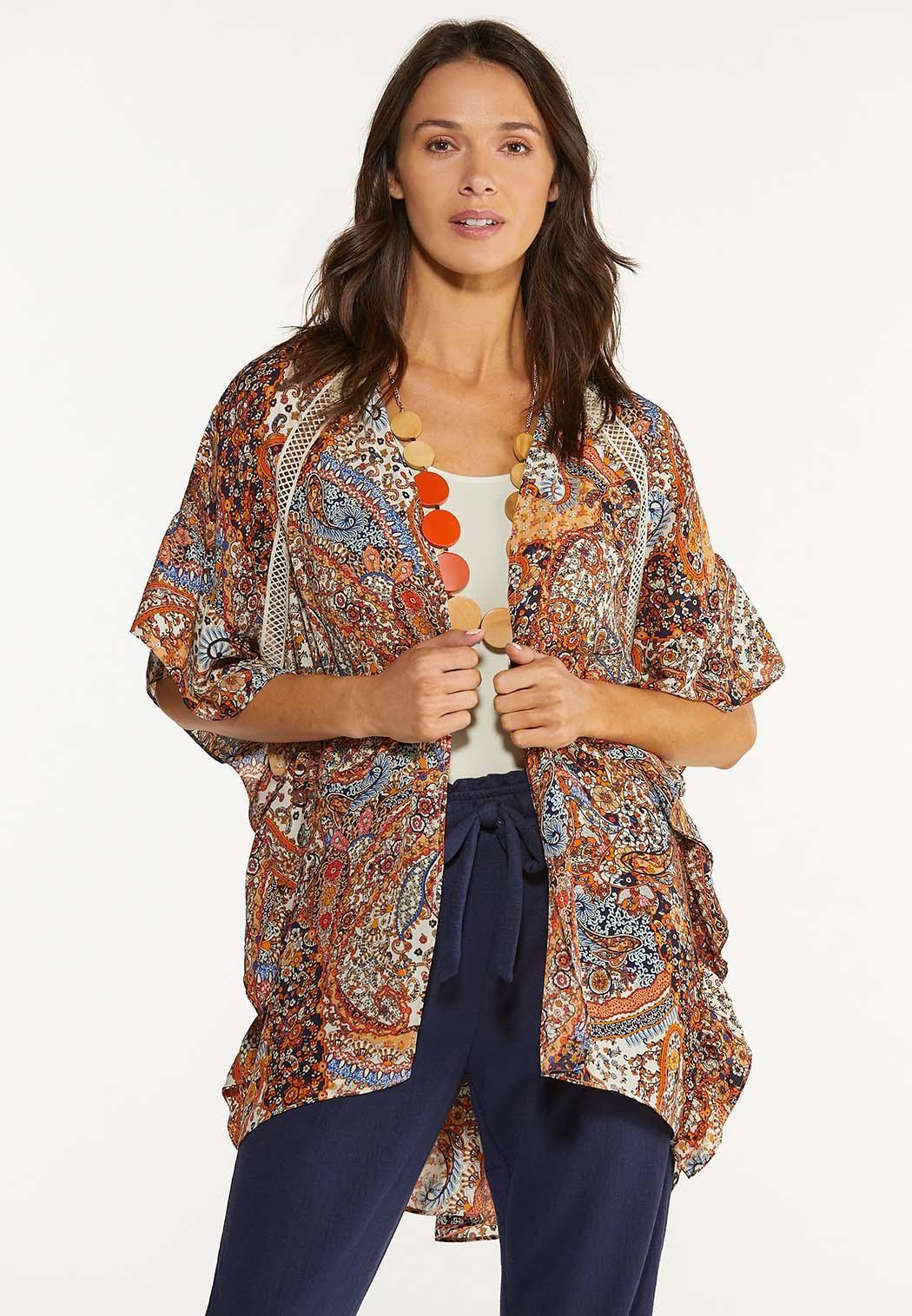 Plus Size Ruffled Paisley Kimono