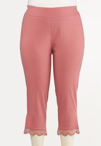 Plus Size Cropped Crochet Bengaline Pants