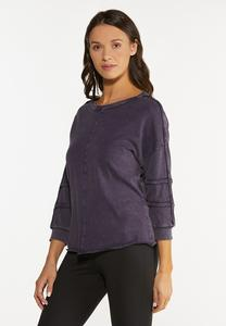 Plus Size Raw Edge Sweatshirt