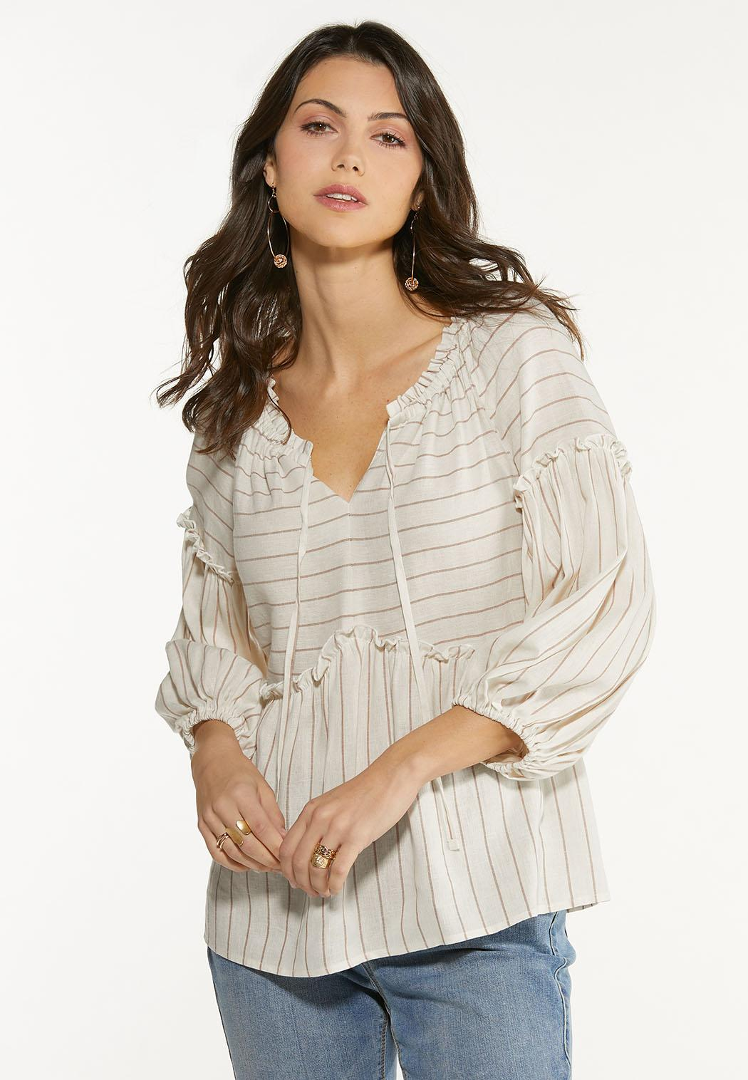 Plus Size Striped Linen Babydoll Top