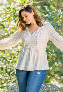 Plus Size Striped Linen Babydoll Top