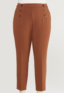 Plus Size Sailor Button Slim Leg Pants