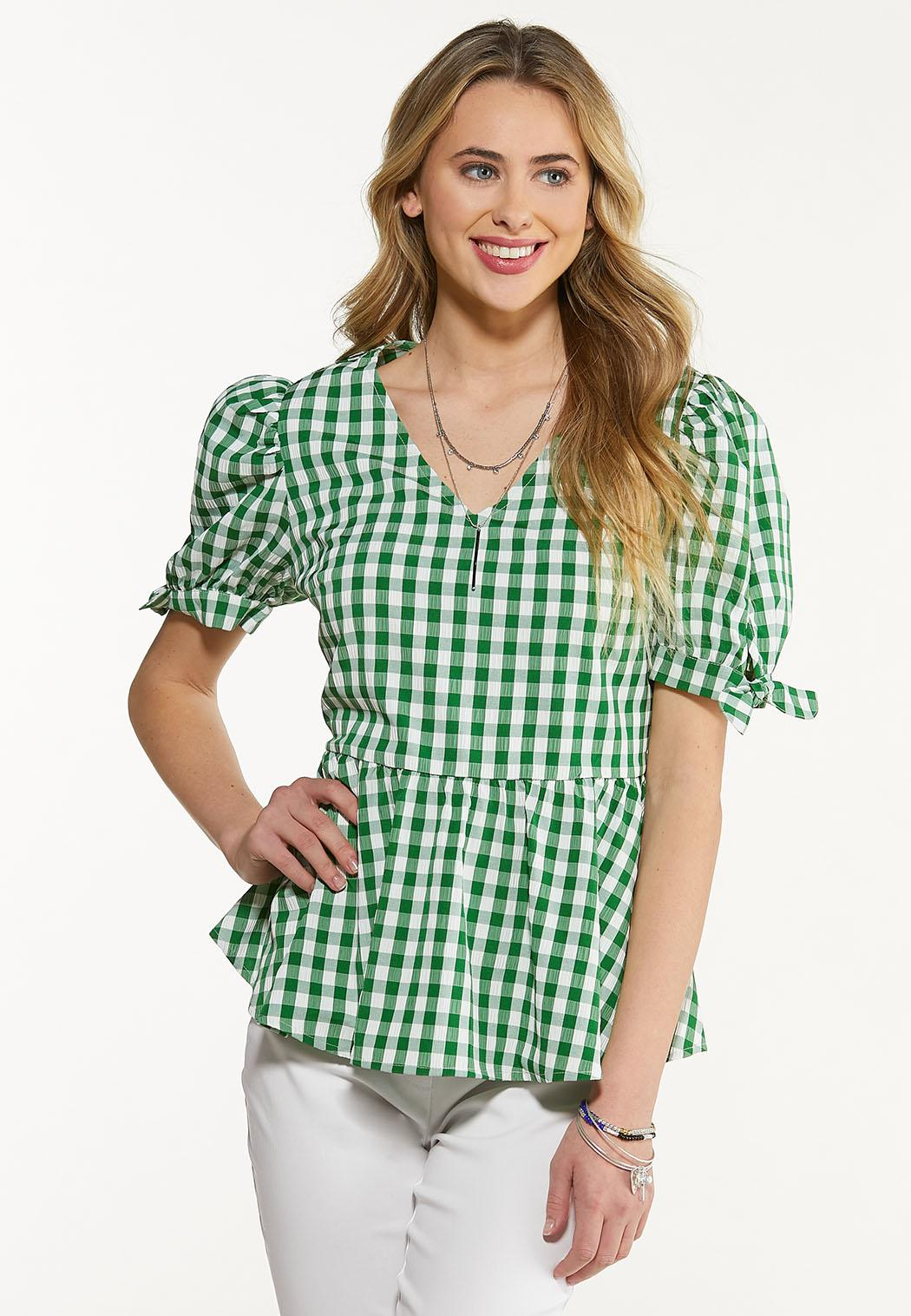 Plus Size Green Gingham Top