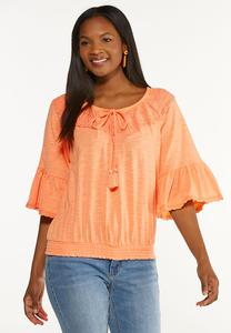 Plus Size Citrus Lace Trim Top