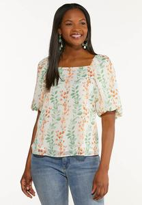 Plus Size Floral Puff Sleeve Top