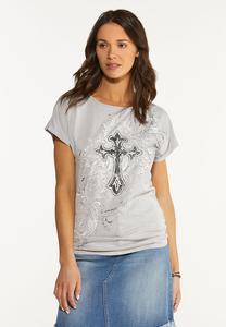 Plus Size Embellished Cross Top