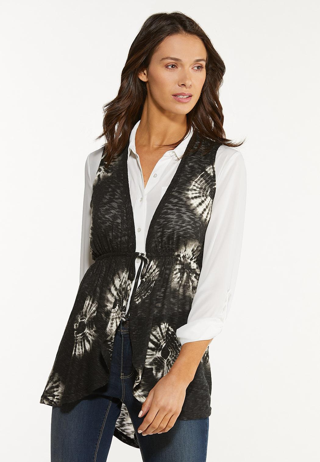 Plus Size Belted Tie Dye Vest