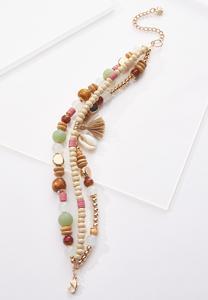 Triple Row Wood Bead Anklet