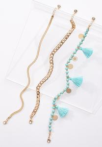 Tasseled Chain Anklet Set