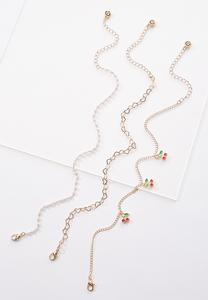 Cherry Charm Anklet Set