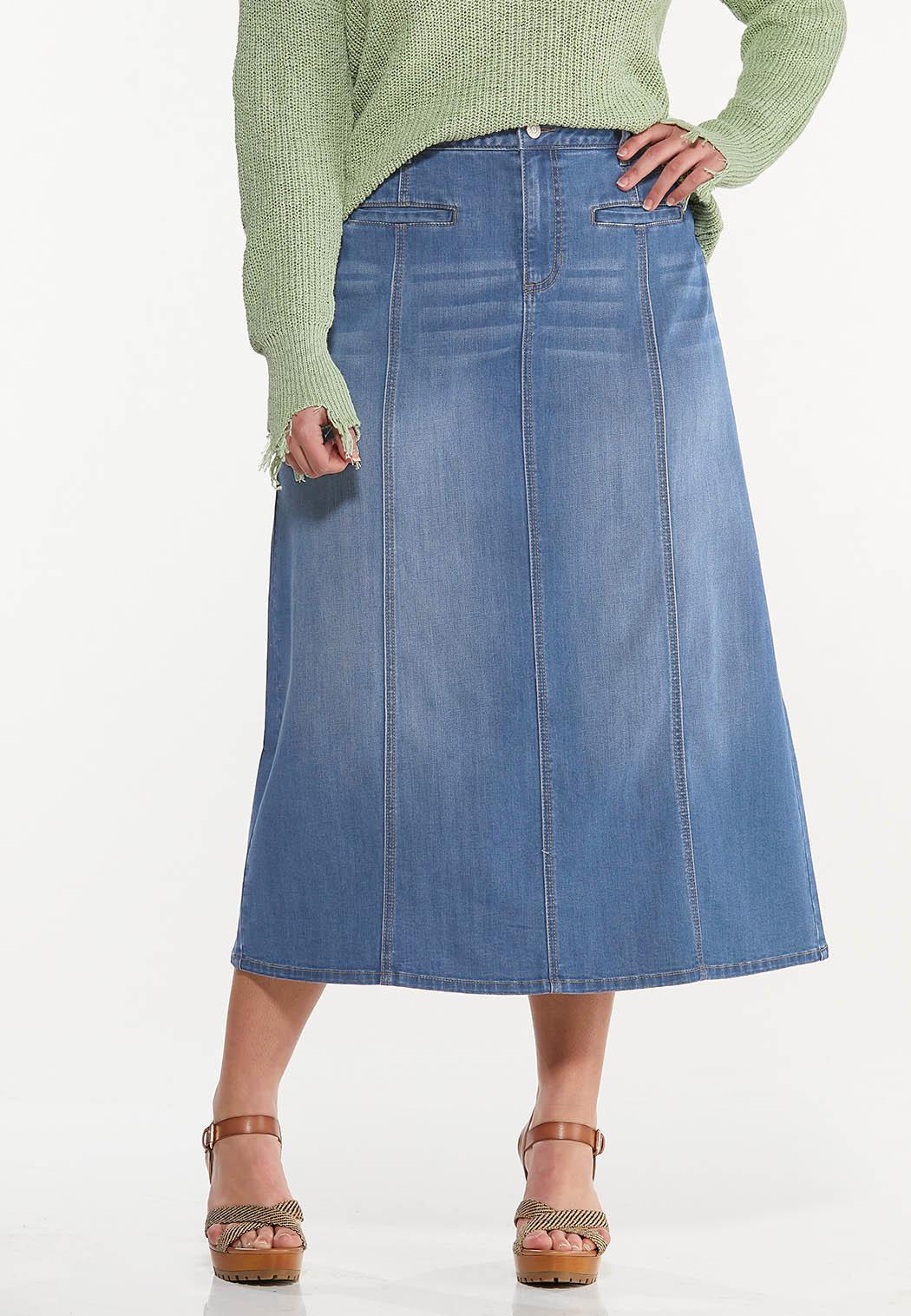 Plus Size Seamed Denim Skirt