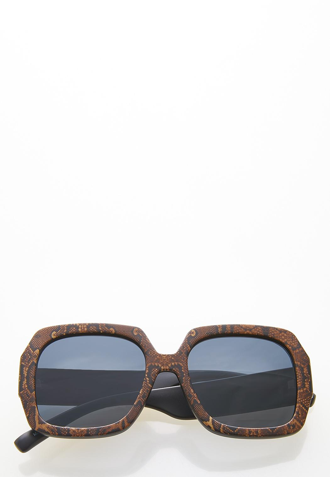 Snakeskin Square Sunglasses