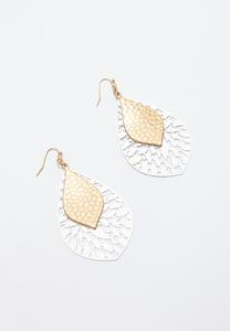 Two-Tone Hammered Metal Earrings