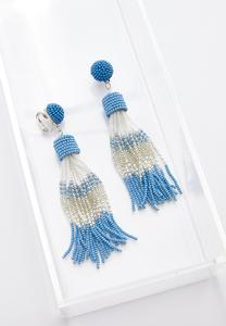 Seed Bead Tassel Clip-On Earrings