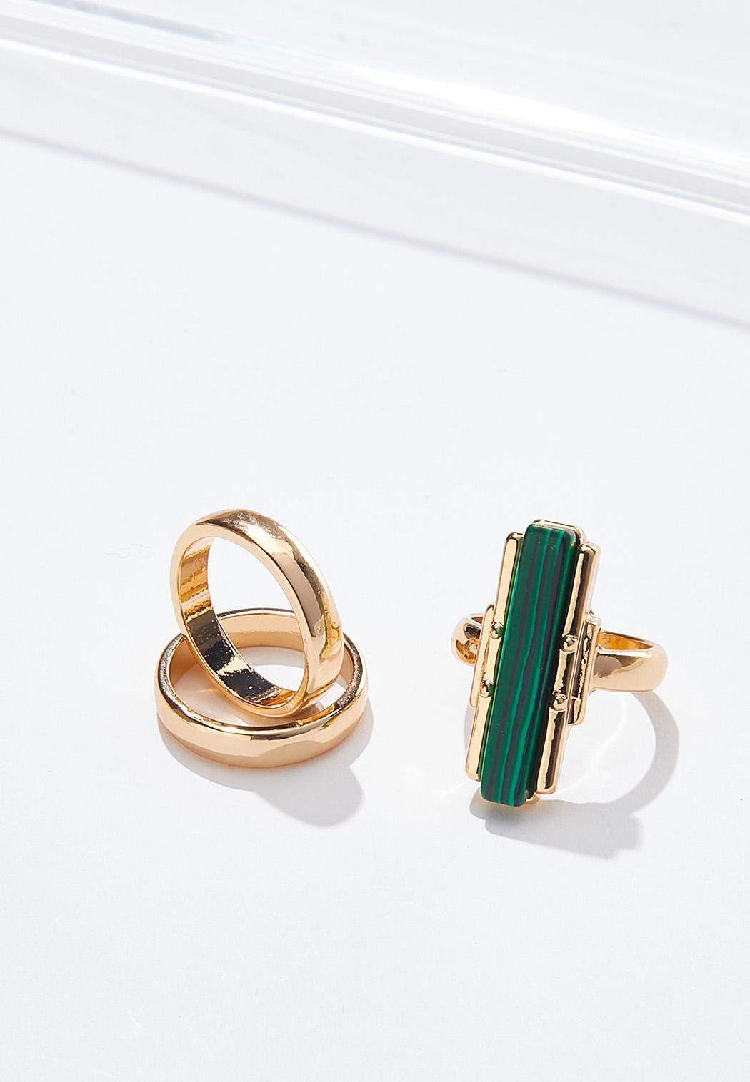 Mixed Emerald Gold Ring Set
