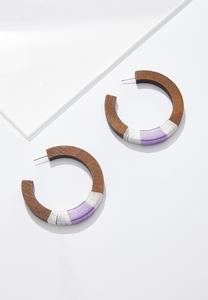 Thread Wrapped Wood Hoop Earrings