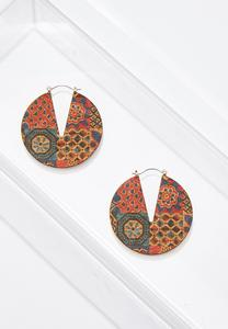 Printed Cutout Cork Earrings