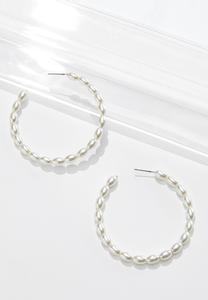 Dainty Pearl Hoop Earrings