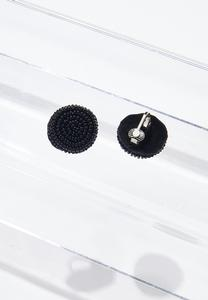 Seed Bead Button Clip-On Earrings
